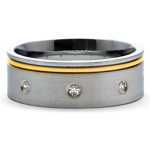 WARS Titanium 14K Gold Tone Simulated Diamond Ring - Gaboni Jewelers
