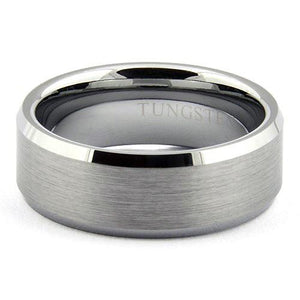 ZALTOR 7mm Tungsten Carbide Ring Beveled Edges Brushed Top - Gaboni Jewelers