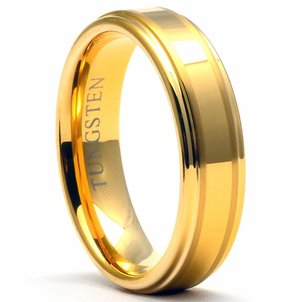 ZOMER 6mm Gold Tungsten Wedding Band Two Stripes & Shiny Steps - Gaboni Jewelers