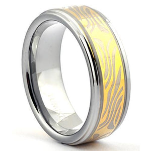 ZULU Mokume-Gane Tungsten Wedding Band Brushed & Steps - Gaboni Jewelers