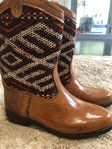 Moroccan Kilim handmade boots size 8. no 2
