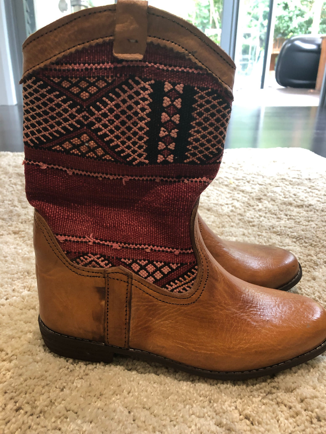 Moroccan Kilim handmade boots size 8. no 1