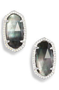 KENDRA SCOTT ELLIE EARRINGS BRIGHT SILVER BLACK MOTHER OF PEARL