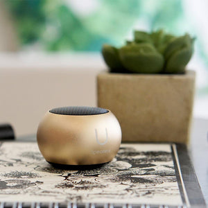 U MINI SPEAKER GOLD - EXCEPTIONAL SOUND, MAGNETIC BASE AND PAIRING OPTION FOR STEREO!