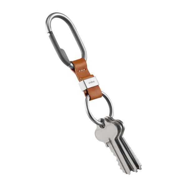 Orbitkey Key Clip- Tan with White Stitching