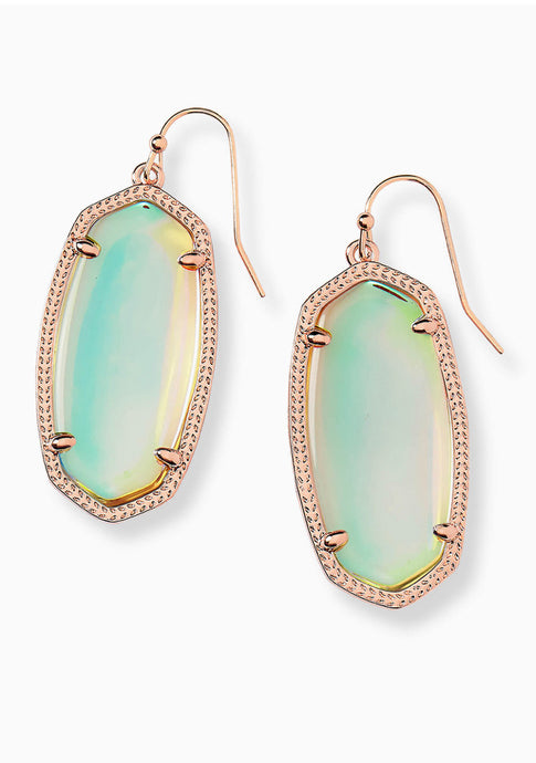 Kendra Scott Elle Earrings in Rose Gold/Dichroic Glass