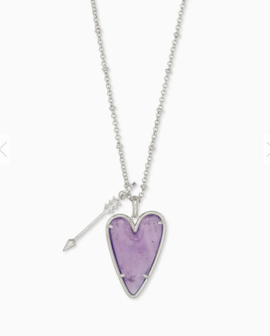 Kendra Scott- Ansley Long Pendant Necklace Rhodium/Amethyst