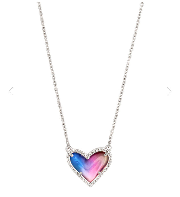 Kendra Scott- Ari Heart Necklace Rhodium/Multi Color Mix