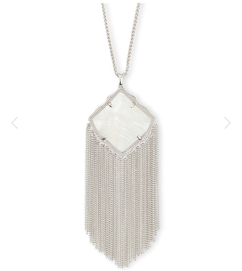 Kendra Scott- Kingston Necklace Rhodium/White Mother of Pearl