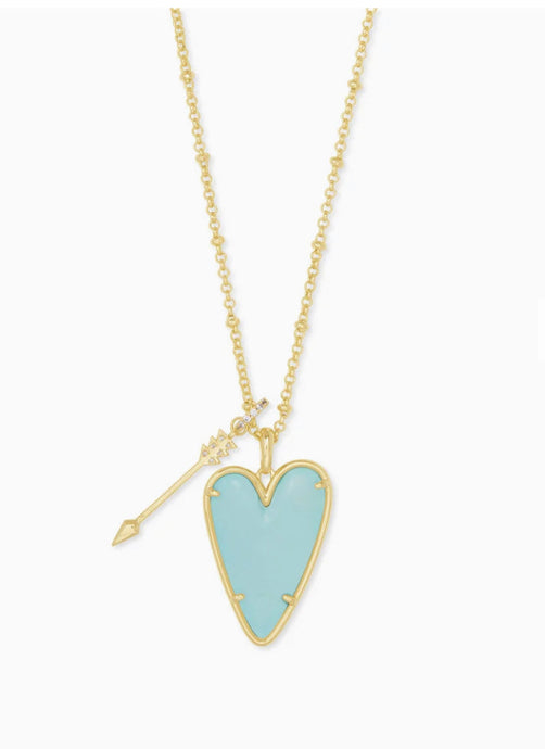 Kendra Scott- Ansley Long Pendant Necklace Gold/Light Blue Magnesite