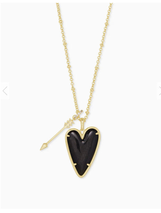 Kendra Scott- Ansley Long Pendant Necklace Gold/Golden Obsidian