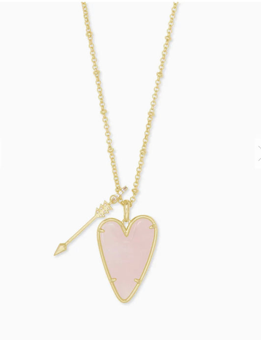 Kendra Scott- Ansley Long Pendant Necklace Gold/Rose Quartz