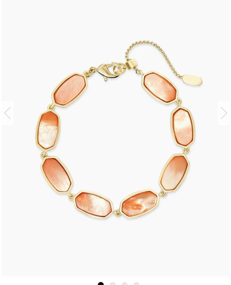 Kendra Scott- Millie Gold Link Bracelet in Peach Pearl