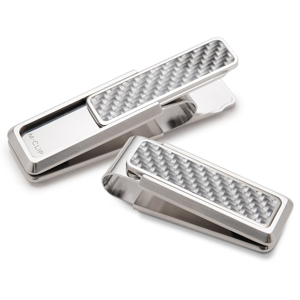 M-CLIP STAINLESS WITH WHITE CARBON FIBER MONEY CLIP