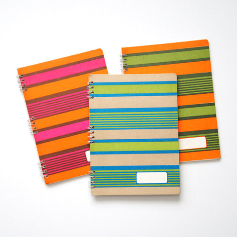 60's Italian Spiral-Bound Notebooks - Striped