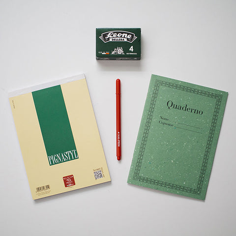 Made-in-Italy office supplies in the RAD AND HUNGRY office supplies subscription box. Featuring Fila Tratto pens, notebooks, and paper clips.