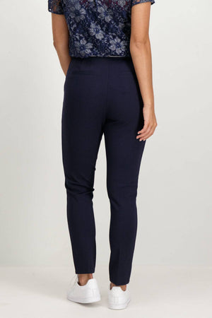 Navy Blue Garcia Trousers with a zip closure - Your Style Your Story