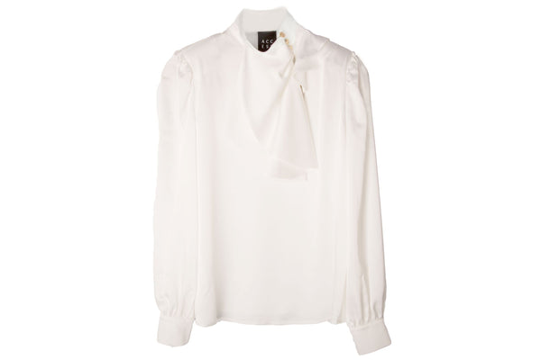 Access Fashion White Blouse with Decorative Buttons