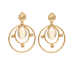IOAKU Elipse Earrings Gold White
