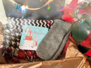 Gift Set - Red and Navy Scarf and Wool Mittens