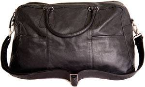 Shona Easton Black Leather Overnight Bag