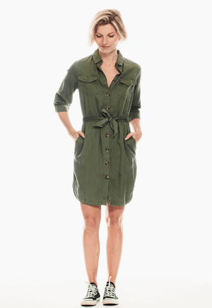 Garcia Army Green Dress with Front Buttons