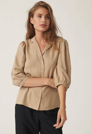 Moss Copenhagen Beige Shirt with Puff Sleeves