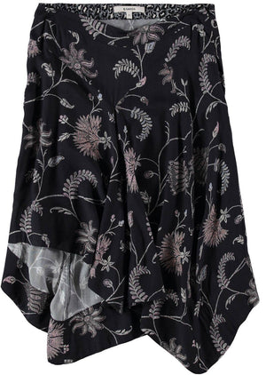 Asymmetrical Black Garcia Skirt with Allover Print