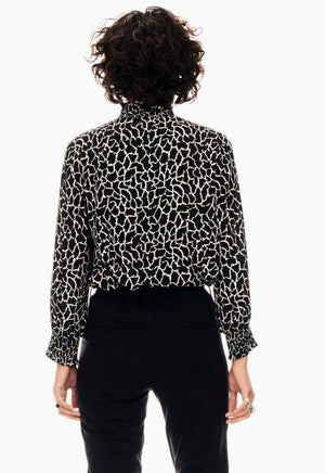 Garcia Black Blouse with Giraffe Print & Turtleneck