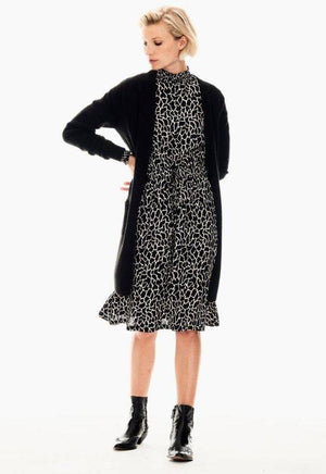 Garcia Black Dress with Giraffe Print & Long Sleeves