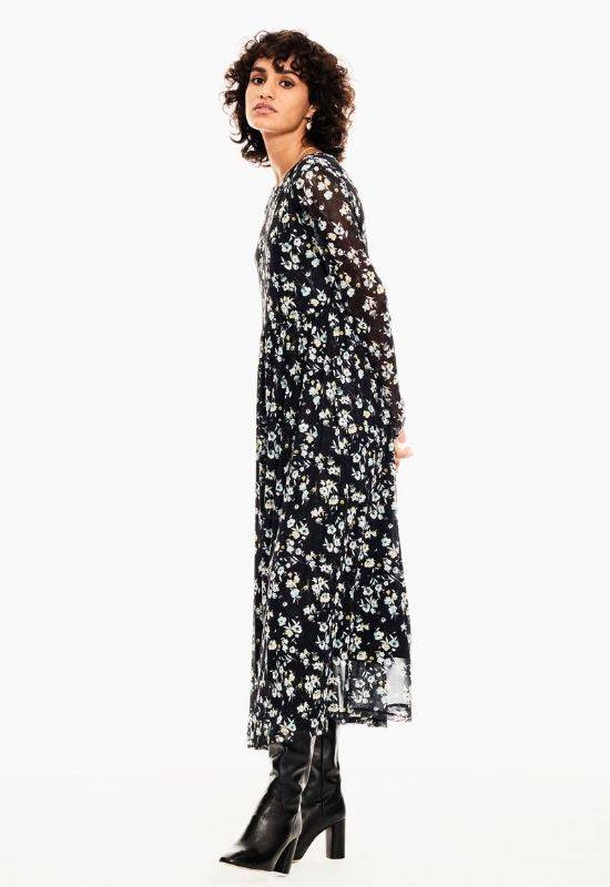 Garcia long black dress with allover flower print