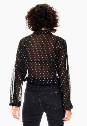 Garcia black mesh shirt with allover print