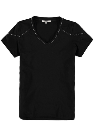 Black Garcia t-shirt with diamantes along neckline and shoulders