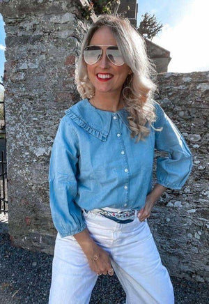 The Jane - Denim Shirt with Peter Pan Collar