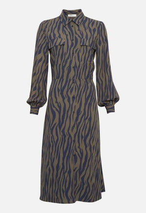 Moss Copenhagen blue zebra print shirt dress