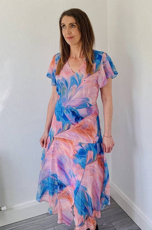Coster Copenhagen colourful dress in recycled polyester