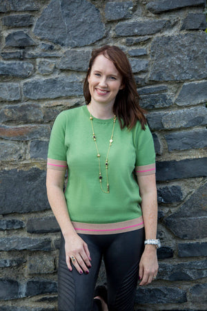 Coster Copenhagen Short Sleeve Green Jumper in Seawool