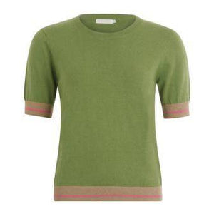 Coster Copenhagen Short Sleeve Green Jumper in Seawool - Your Style Your Story