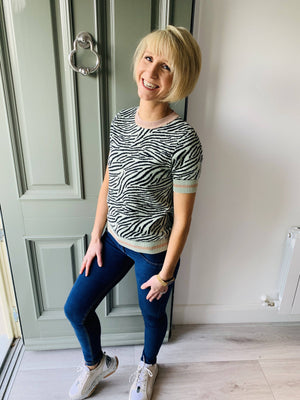 Coster Copenhagen seawool knit blouse in zebra pattern