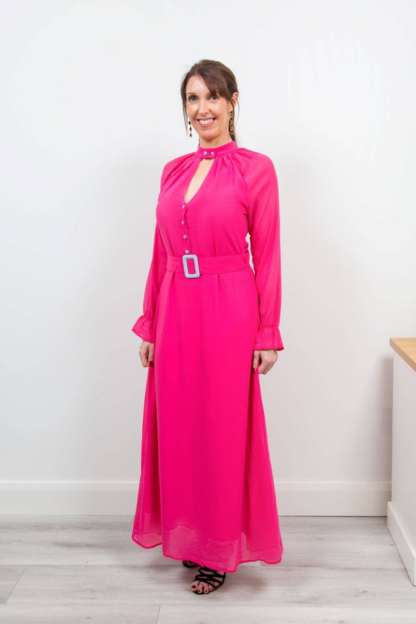 Coster Copenhagen Long Pink Dress with Buckle Closure