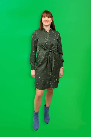 Coster Copenhagen dark green dress with tie knot in recycled polyester