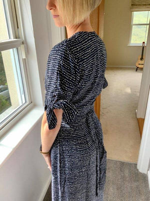 Garcia long dark blue dress with mid-length sleeves and allover print