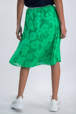 Bright Green Garcia Skirt with Floral Design