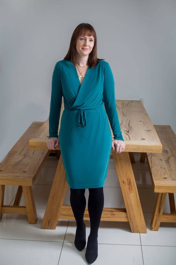 Green Garcia Wrap Over V-Neck Dress