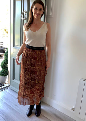 Coster Copenhagen Long Skirt with Python Print and Frill