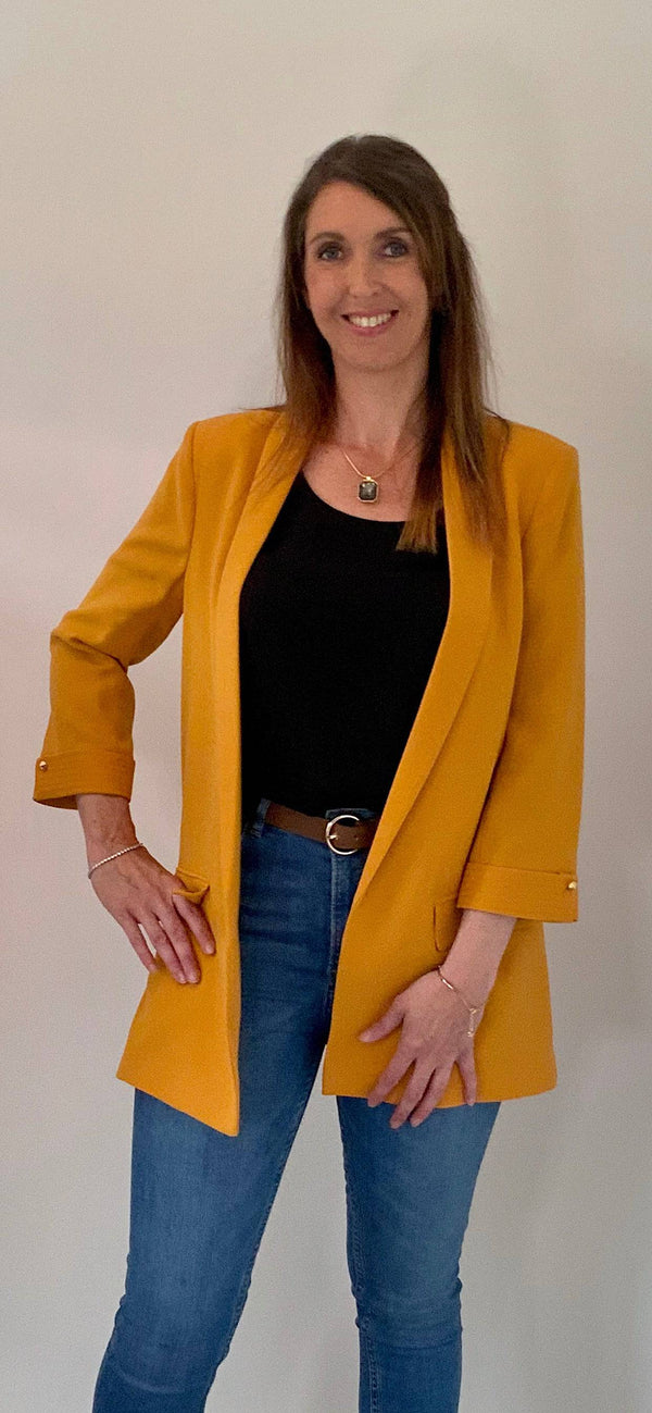Access Fashion Loose Fit Yellow Blazer