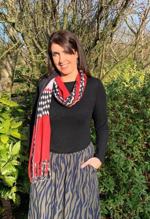 Kate & Pippa Red Allover Print Scarf