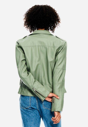 Garcia Light Green Biker Jacket
