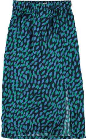 Dark Blue Garcia Skirt with allover leaves print - Your Style Your Story