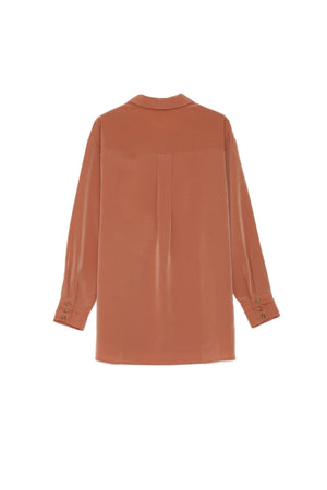 Grace & Mila Long-sleeved Rose Blouse with a lavaliere collar